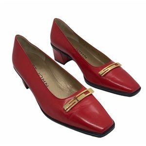 Vintage ST. JOHN Red Leather Logo Pumps Shoes